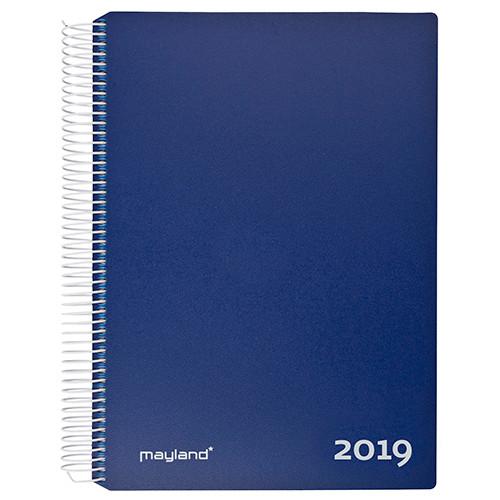 Timekalender blå 17 x 23 cm med spiral 2019 - Mayland 19 2180 20