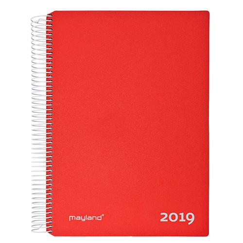 Timekalender rød 17 x 23 cm med spiral 2019 - Mayland 19 2180 10