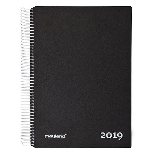 Timekalender sort 17 x 23 cm med spiral 2019 - Mayland 19 2180 00