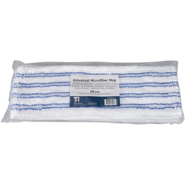 Tør- og fugtmoppe, hvid, mikrofiber/nylon, 50 cm, med lommer