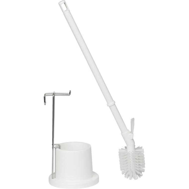Toiletbørste, Vikan Hygiejne, hvid, lang model, med skyllekant børste