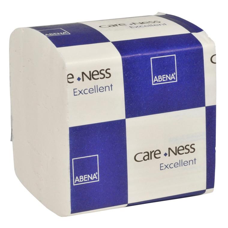 Toiletpapir i ark, Abena Care-Ness Excellent, 2-lags, 21x11cm, hvid, 100% nyfiber