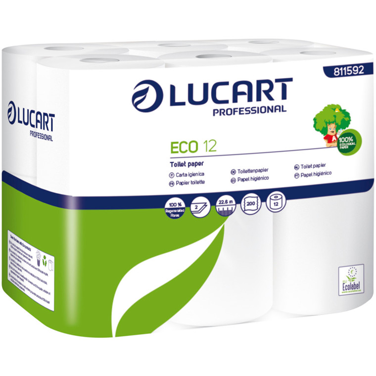 Toiletpapir, Lucart, 2-lags, 22m x 9,8cm, Ø9,2cm, hvid, 100% genbrugspapir