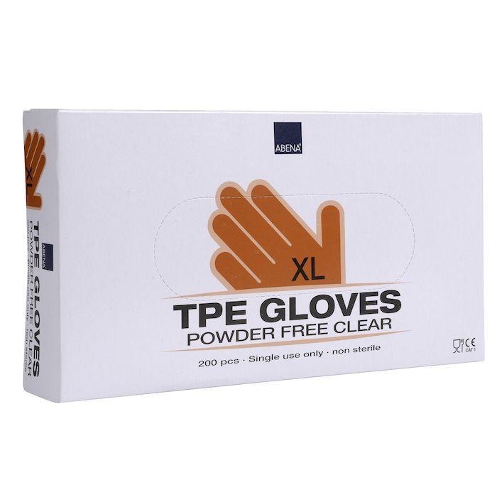 TPE Engangshandske klar - Pudderfri - Størrelse XL