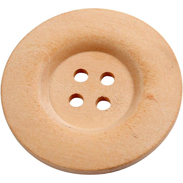 Træknapper diameter 40 mm kinesisk bærtræ 4 huller | 6 stk.