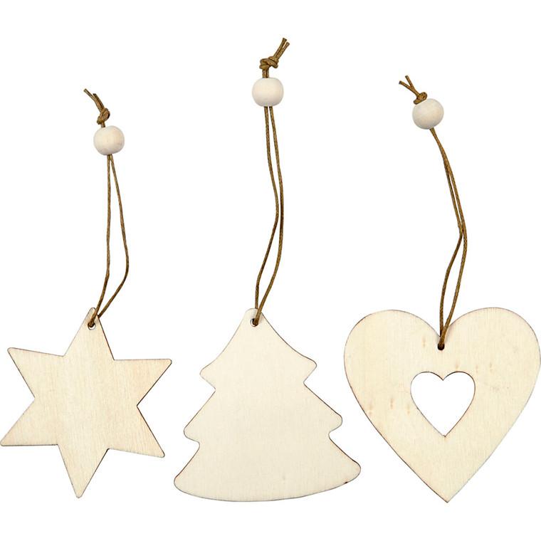 Træophæng størrelse 6 cm tykkelse 3 mm hjerte stjerne juletræ - 9 stk.