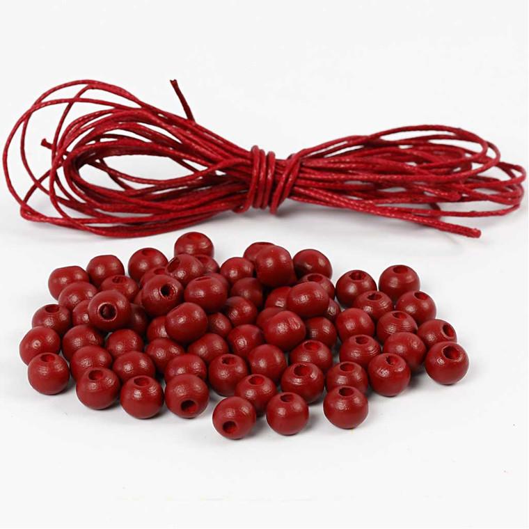 Træperler og bomuldssnor diameter 8 mm tykkelse 3 mm rød | Copenhagen