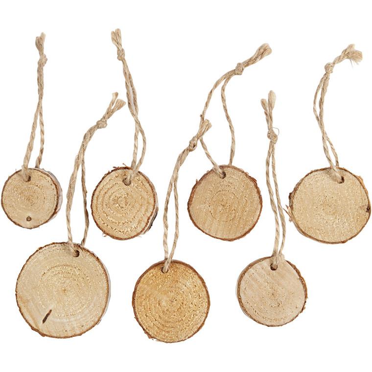 Træskiver med ophæng, diam. 35-45 mm, tykkelse 7 mm, 7stk