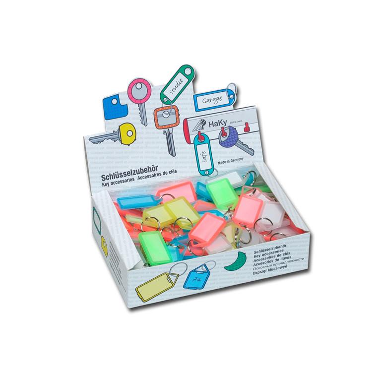 Transparente nøgleringe i farvet plastik - Display boks med 100 stk