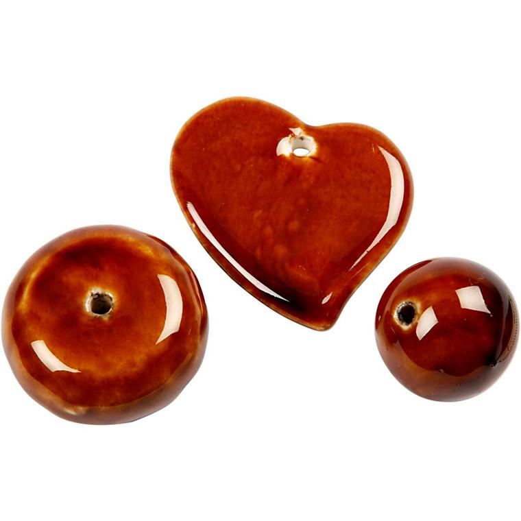 Trend keramik, str. 24-36 mm, hulstr. 2-3 mm, brun, hjerte, bold og stor flad rund perle, 3ass.