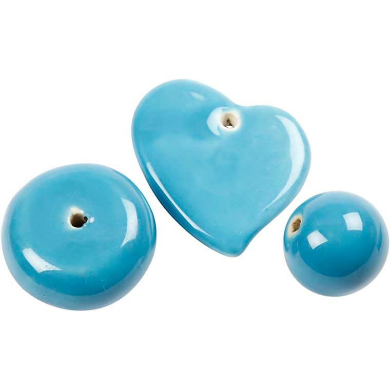Trend keramik, str. 24-36 mm, hulstr. 2-3 mm, lys blå, hjerte, bold og stor flad rund perle, 3ass.