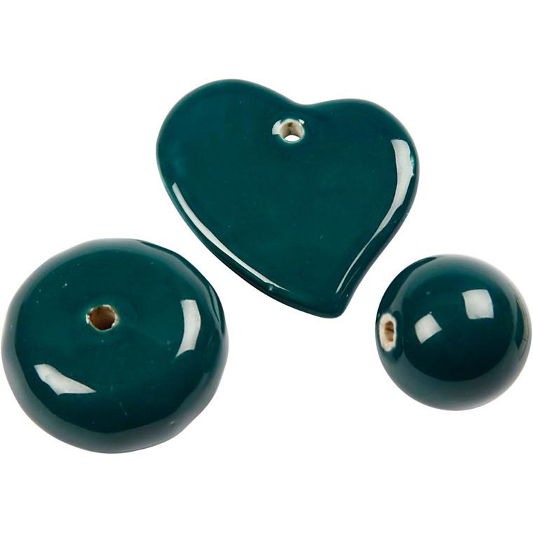 Trend keramik, str. 24-36 mm, hulstr. 2-3 mm, mørk grøn, hjerte, bold og stor flad rund perle, 3ass.