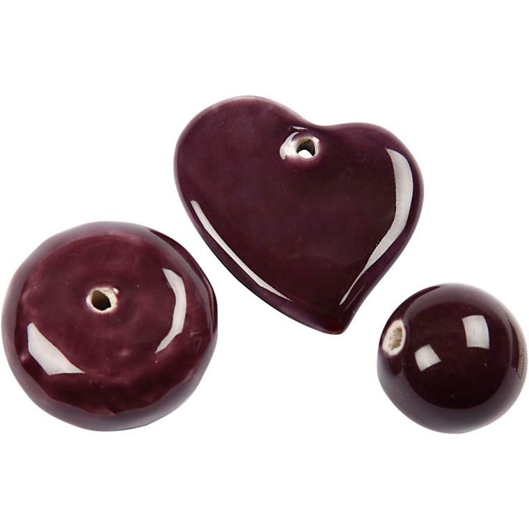 Trend keramik, str. 24-36 mm, hulstr. 2-3 mm, mørk lilla, hjerte, bold og stor flad rund perle, 3ass.