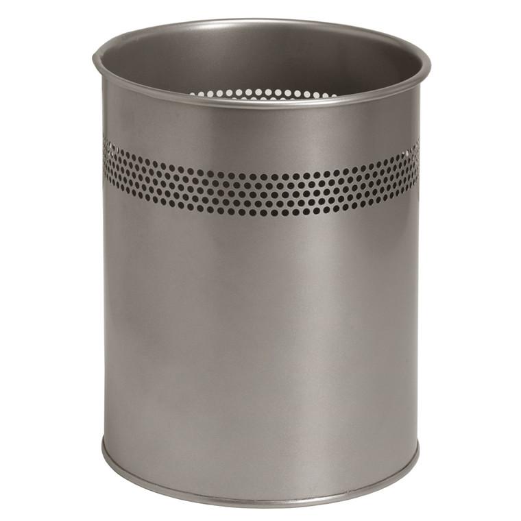 Twin Metal Papirkurv med huller - Sølvmetal 15 liter højde 32 cm Ø: 26 cm