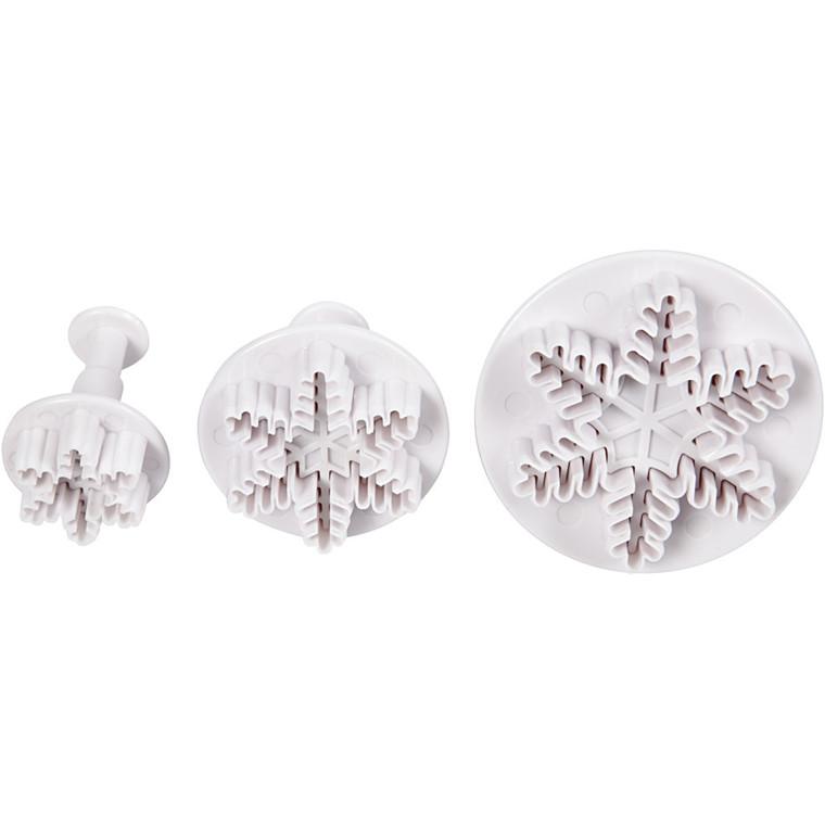 Udstikkere med præg, diam. 3,2+4,8+6,5 cm, hvid, snekrystal, 3stk.