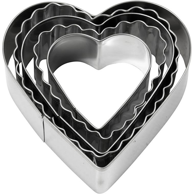 Udstiksforme, diam. 8 cm, hjerte, 5stk.