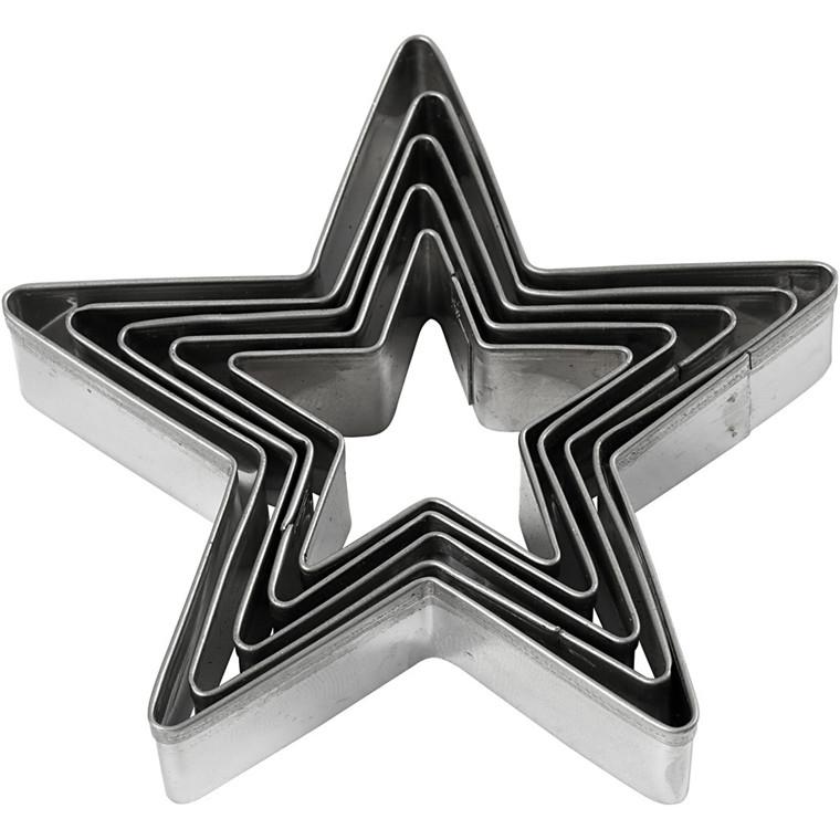 Udstiksforme, diam. 8 cm, stjerne, 5stk.