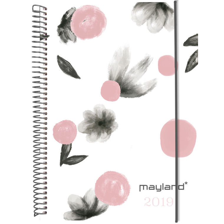Uekalender Mayland A6 Weekly 2019 hård PP blomster 10,5 x 15 cm højformat - 19 2011 20