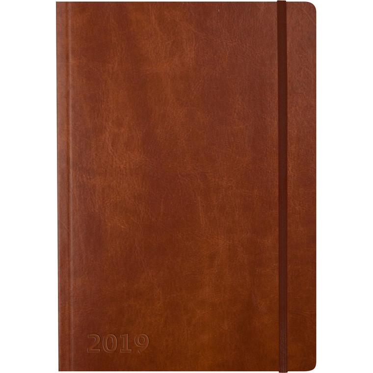Mayland 2019 Ugekalender A5 Notes brun kunstskind 15 x 21 cm tværformat - 19 2006 10