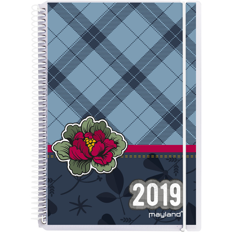 Mayland Ugekalender 2019 A5 Weekly hård PP med 4 illustrationer 15 x 21 cm højformat - 19 2010 00