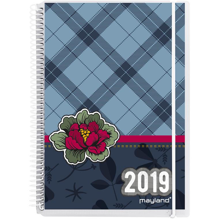 Ugekalender Mayland 2019 A6 Weekly hård PP med 4 illustrationer 10,5 x 15 cm højformat - 19 2011 00