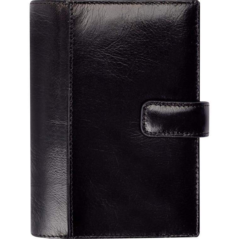 Ugekalender System Mini sort skind Mayland 2019 8 x 12,6 cm tværformat - 19 3511 00