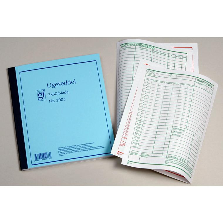 Ugeseddel nr 2003 med kopi 148 x 197 mm - 2 x 50 blade