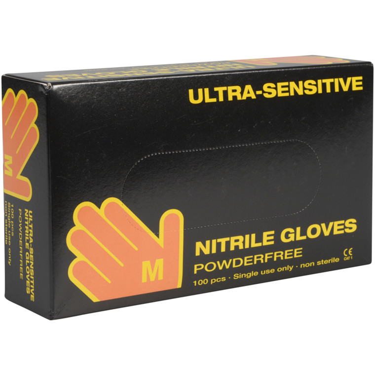 Ultra sensitive nitril handske, Boisen Safety, M, sort, pudderfri