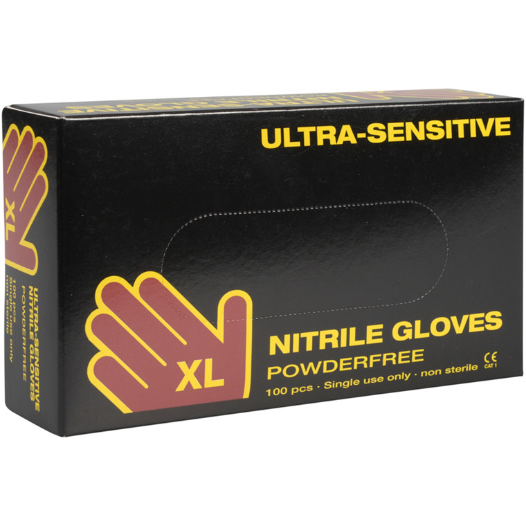 Ultra sensitive nitril handske, Boisen Safety, XL, sort, pudderfri