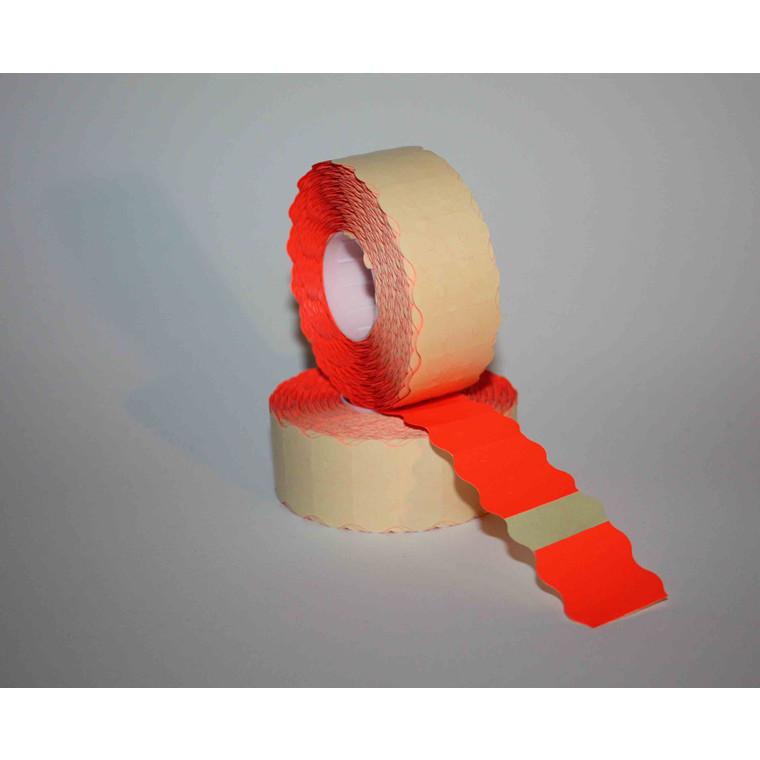 Prismærke - 26 x 12 mm fluor rød med permanent klæber - 6 ruller