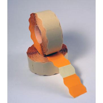 Prismærke -  26 x 16 mm fluor orange med permanent klæber - 6 ruller