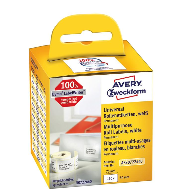 Avery ASS0722440 - Universaletiketter 70 x 54 mm til Dymo Labelwriter - 160 etiketter