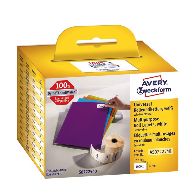 Avery AS0722540  - Aftagelige etiketter til Dymo Labelwriter 57 x 32 mm - 1000 etiketter