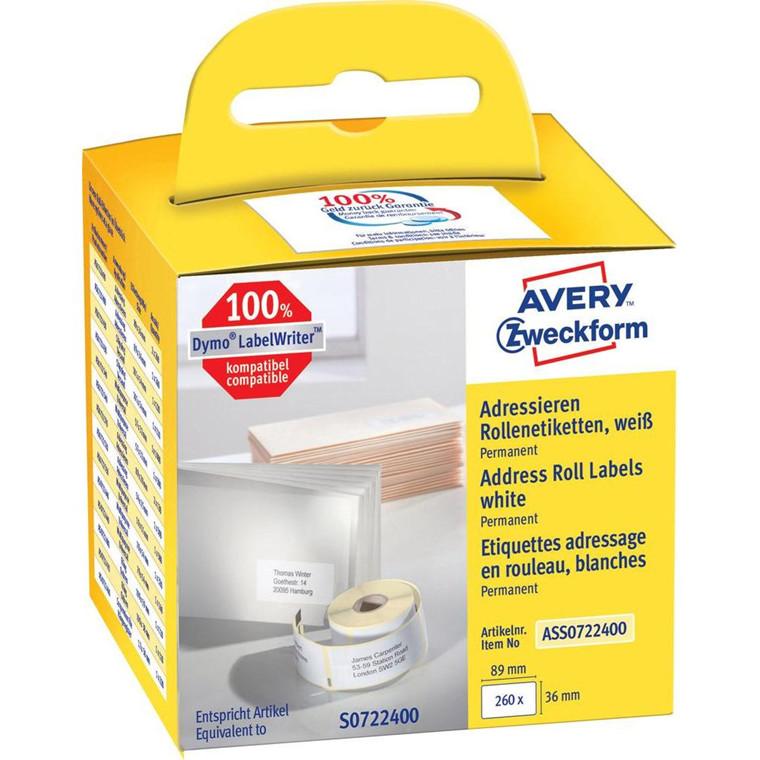 Avery ASS0722400 - Adresseetiketter 89 x 36 mm til Dymo Labelwriter - 260 etiketter