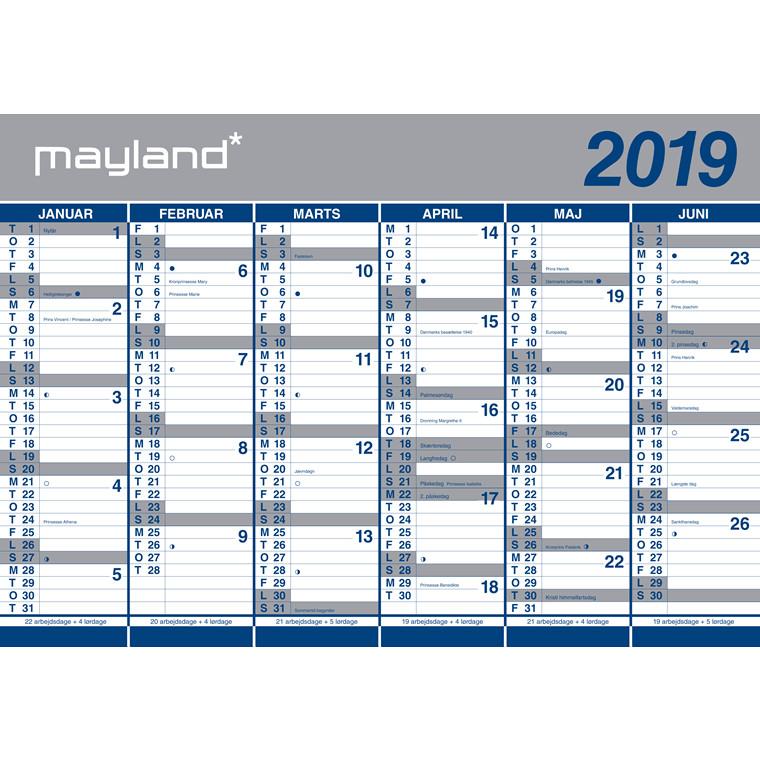 Vægkalender Mayland 2019 2 x 6 måneder papir 100 x 70 cm - 19 0641 00