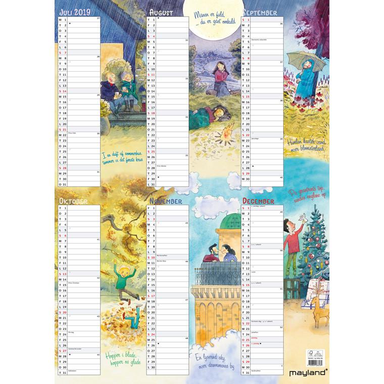 Mayland Vægkalender 2019 Familiens årskalender med illustrationer 50 x 70 cm - 19 0662 80