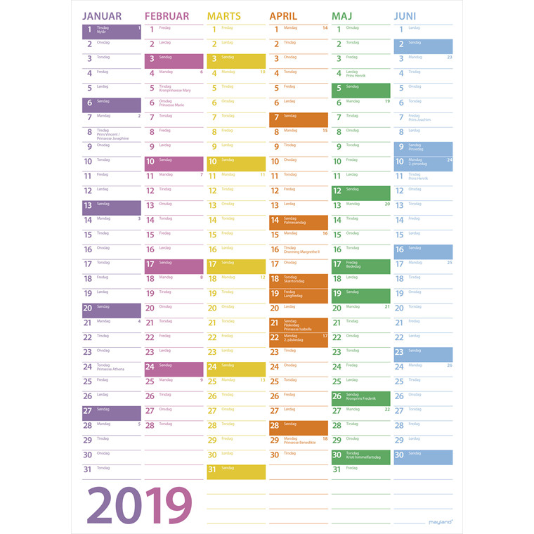 Mayland Vægkalender 2019 Trend 36 x 49 cm - 19055100