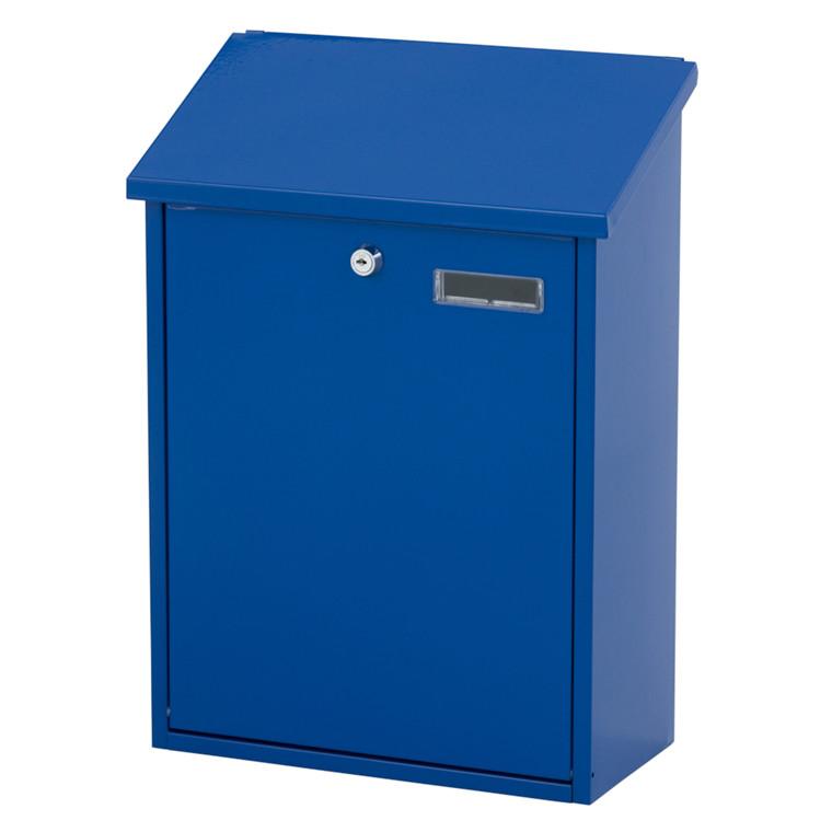 Vægmonteret postkasse large, V-part, klar til vægmontering, blå,