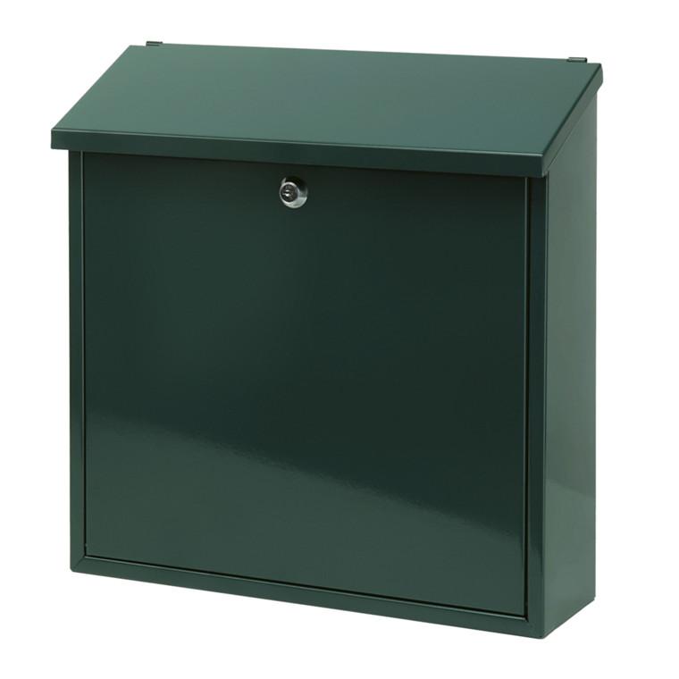 Vægmonteret postkasse, V-part, klar til vægmontering, grøn,