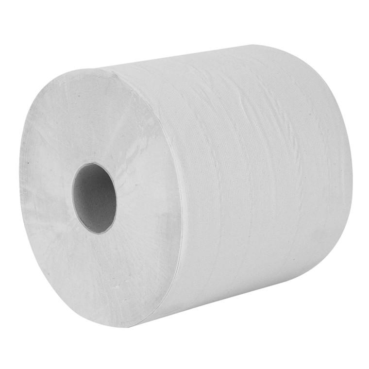 Værkstedsrulle, Abena Care-Ness Classic, 2-lags, 380m x 24cm, Ø27cm, hvid, 100% genbrugspapir