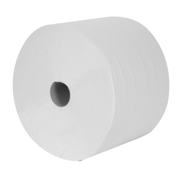 Værkstedsrulle, neutral, 2-lags, 600m x 26,3cm, Ø36cm, hvid, 100% nyfiber