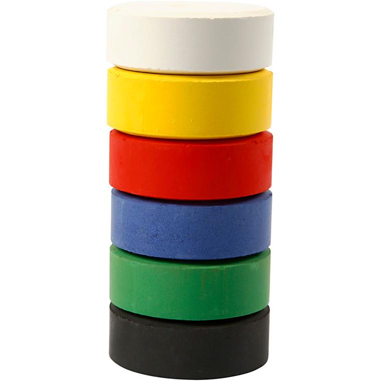 Vandfarve, dia. 44 mm, H: 16 mm, primærfarver, refill, 6stk.