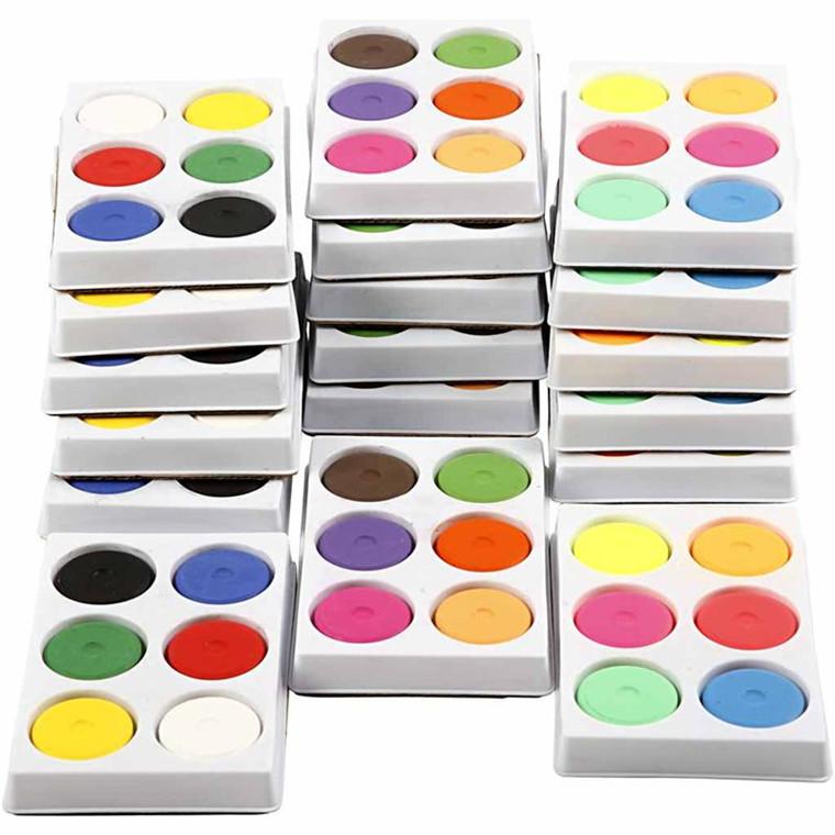 Vandfarve i palet, dia. 44 mm, H: 16 mm, 18bakker