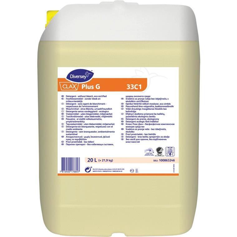 Vaskemiddel, Clax Plus G 33C1, til kulørt og hvid, flydende, 20 l