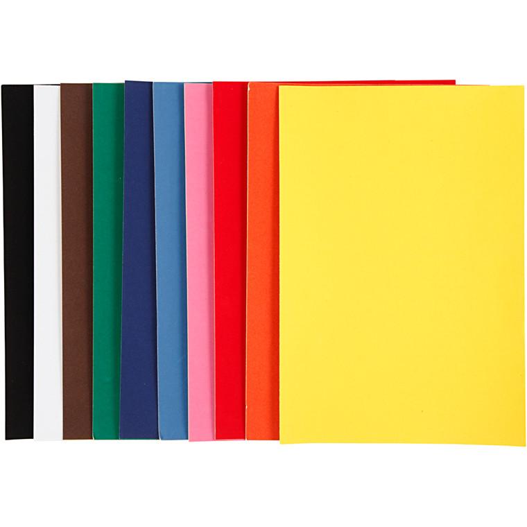Velourpapir, A4 21x30 cm, 140 g, ass. farver, 10ark