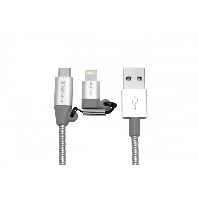 Verbatim 2-In-1 Lightning / Micro B Stainless Steel Sync & Charge Cab