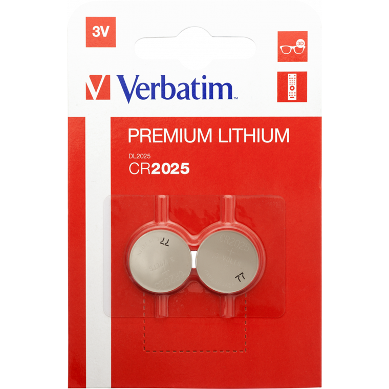 Verbatim Lithium Battery Cr2025 3V 2 Pack
