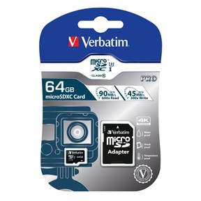 Verbatim Micro SDXC Card PRO 64GB U3 with Adaptor