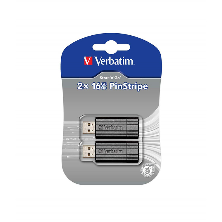 Verbatim USB 2.0 Store 'N' Go Pin 16GB, Black (2-pack)