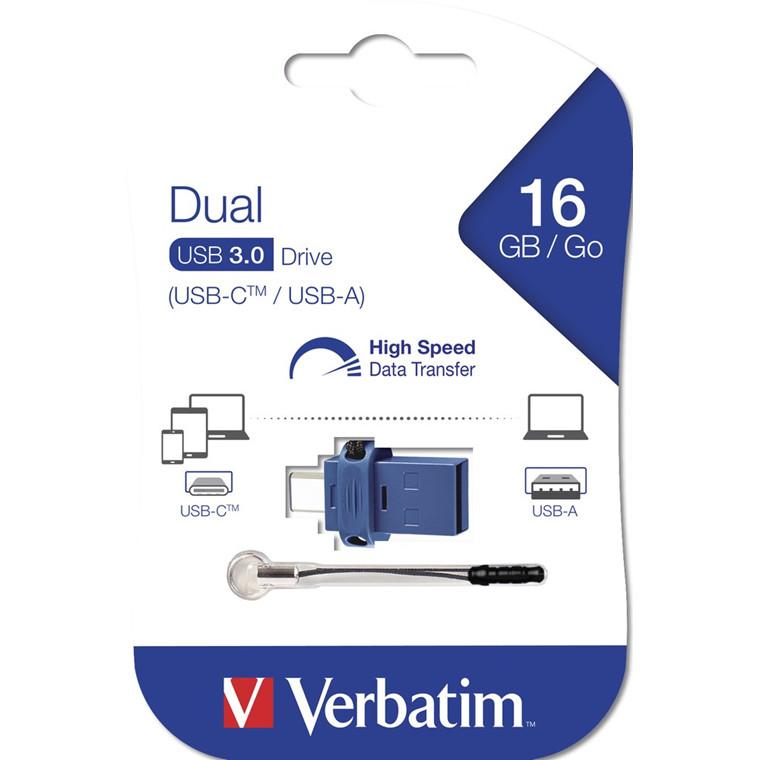 Verbatim USB 3.0 Store 'N' Go Dual Drive / USB-C 16GB, Black